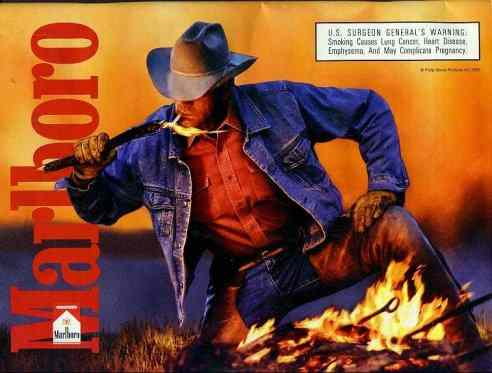 Click for a larger, floating, image. Marlboro cowboy ad with 'faces' in the fire.