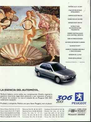 Peugeot 306 ad with Botticelli based image.