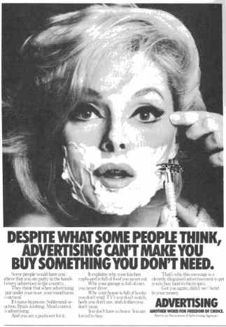 Ad from the AAA displaying a woman shaving.