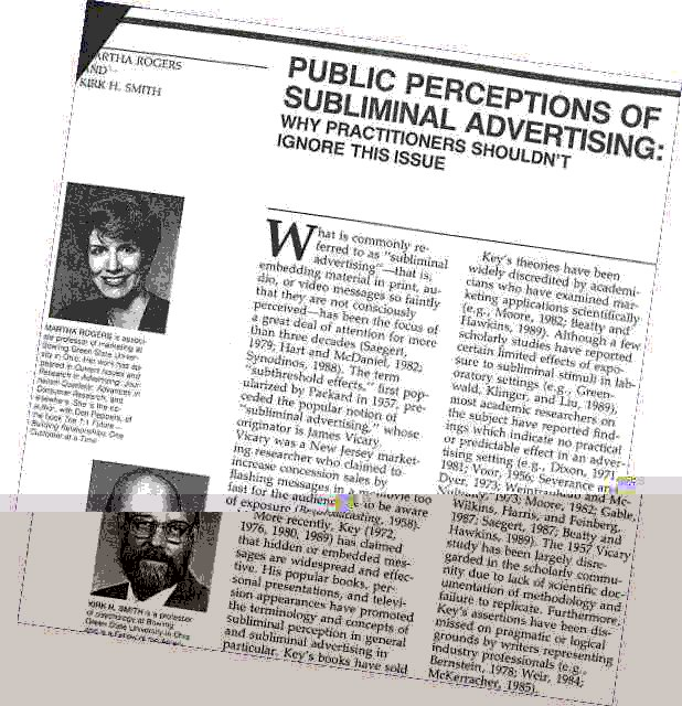 Click for a larger, floating, image. Thumbnail of article on Public Perceptions of Subliminal Advertising.
