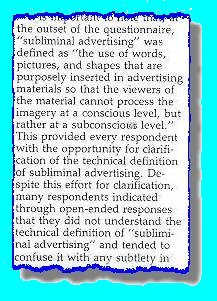 section of article offering definition of subliminal advertising.