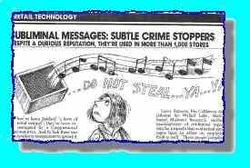 Article on the use of subliminal messages to stop crime