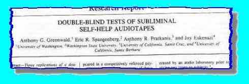 Article on testing of Subliminal  Self-help Audiotapes