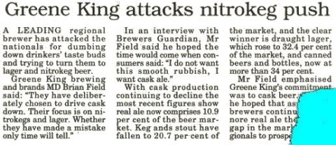 newspaper clipping about nitrokeg beers