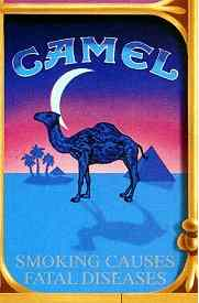 Click for a larger, floating, image. One of seven special Camel cigarette packs