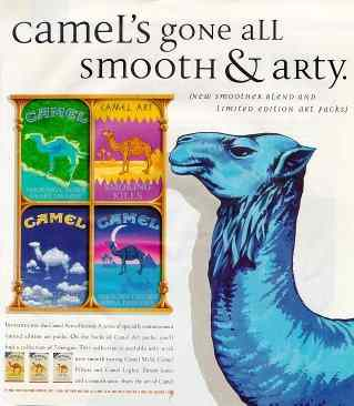 Click for a larger, floating, image. Advert illustrating four of the seven special Camel cigarette packs