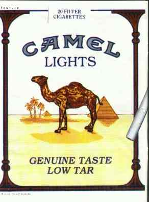 Click for a larger, floating, image. The classic Camel cigarette pack.