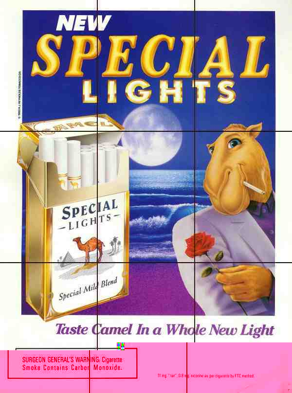 Old Joe Camel ad from 1993. There is an embedded element in the ad and it is not the manikin on the packet.