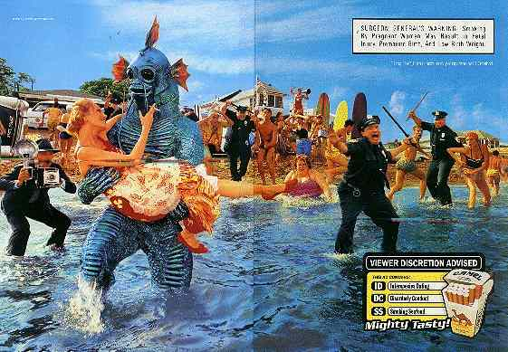 Click for a larger, floating, image. The Camel Beach Party ad, two page spread.