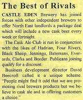 clipping promoting the joint supply of cask ale by a number of independent brewers