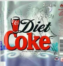 Diet Coke label with dancing couple.