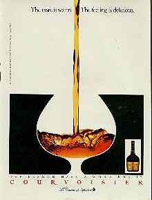 Click for a larger, floating, image.  Courvoisier ad with 'faces' etc embedded in drink.