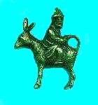 Image of  man facing backwards on donkey