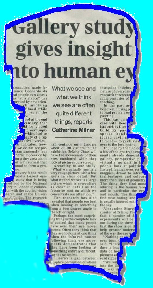 Newspaper article about insights into the human eye and vision.