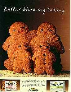 Click for a larger, floating, image.  Flora's gingerbread family ad.