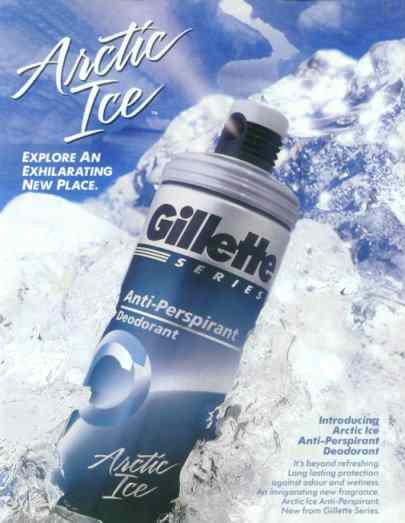 Gillette arctic ice ad with faces in ice and phallic shape penetrating an oval