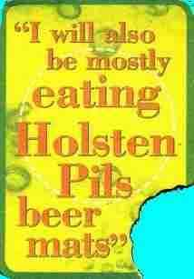 rear of Holsten pils beer mat