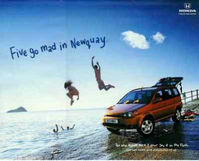 5 Go Mad in Newquay Ad for Honda 5 door vehicle