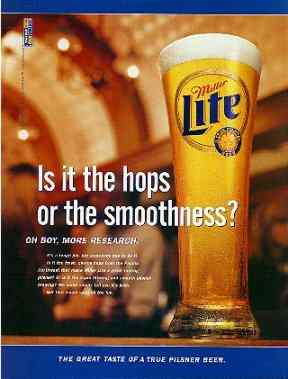 Click for a larger, floating, image. Miller lite ad focussing on Hops.