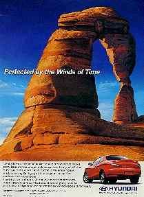 Click for a larger, floating, image.  Hyundai ad featuring sculpted rocks with car.