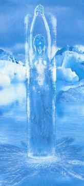 Full size image of young woman encased in ice
