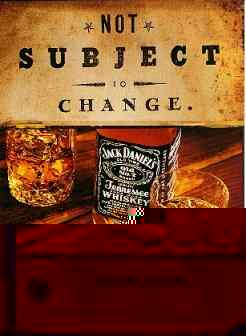 Ad for Jack Daniel's whiskey with interesting features in the glasses.