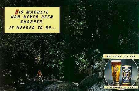Click for a larger, floating, image. Foster's Jungle ad.