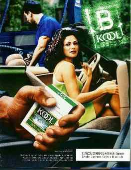 Click for a larger, floating, image. A typical Kool ad, with the girl giving the viewer (with the Kool pack) 'The Eye'.
