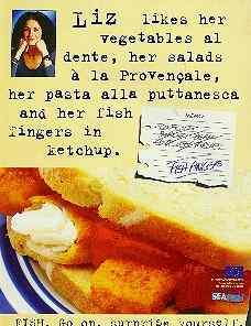 Liz's seafood ad.