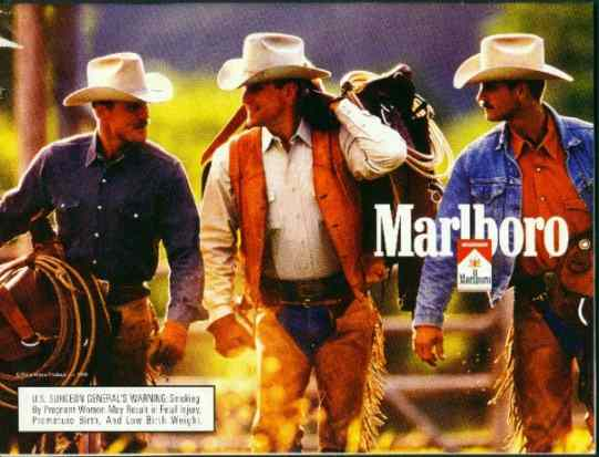 Click for a larger, floating, image. Marlboro ad with 'face' on the cowboys chaps.