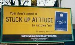 Mayfair poster with 'Stuck Up Attitude' caption