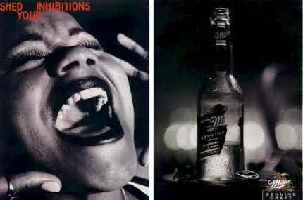 Click for a larger, floating, image. Miller beer ad 'Shed your inhibitions' caption.