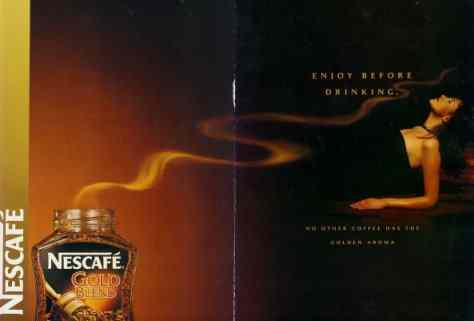 Nescafe Ad with swirling vapour