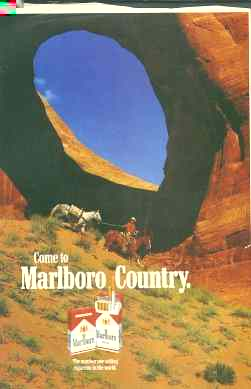 Click for a larger, floating, image. Marlboro ad with phallic shape and 'penetrable' hole.