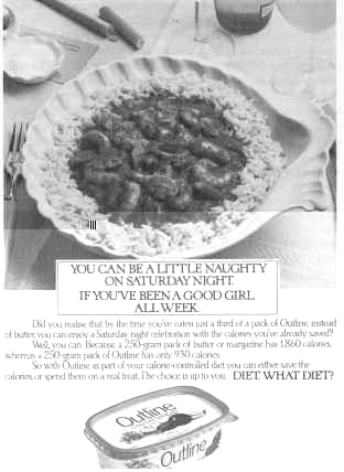 Click for a larger, floating, image.  Old photocopy of an ad for Outline.