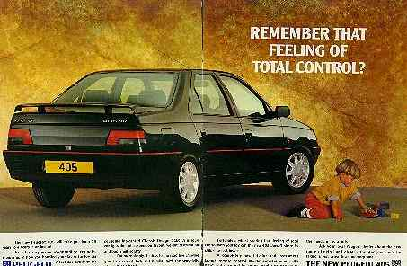 Click for a larger, floating, image. Peugeot 405 control ad.