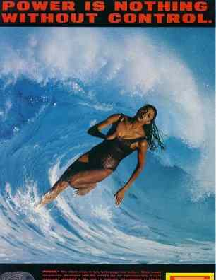 Click for a larger, floating, image. Pirelli woman and wave.