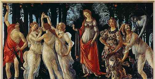 Click for a larger, floating, image. Botticelli's 'Primavera, The Allegory of Spring' with 'faces' in the trees.