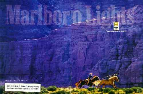 Click for a larger, floating, image. Marlboro Rock Face ad with embedded 'faces'.