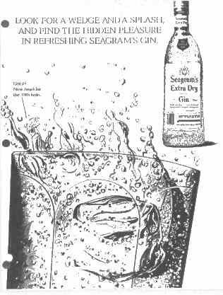 Click for a larger, floating, image.  Seagram's ad with lower portion of 'face'.