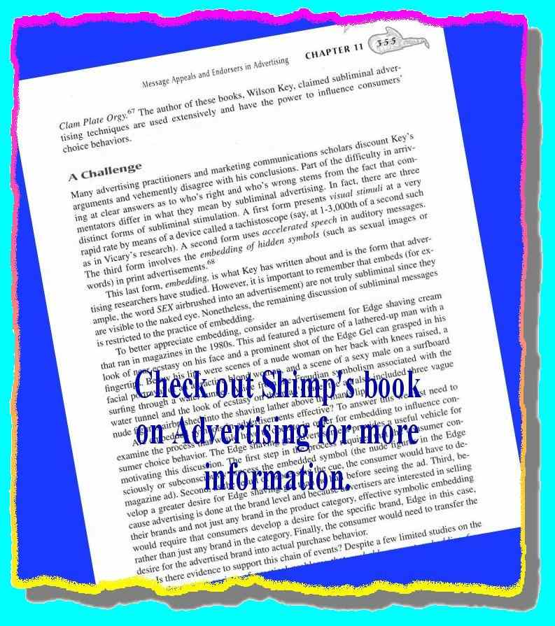 Click for a larger, floating, image. Shimp's commentary on subliminal advertising.