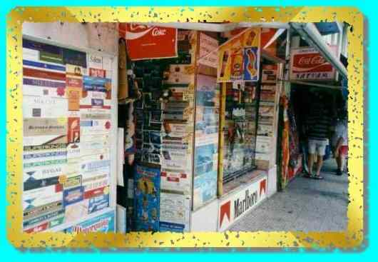 Tobacconist's shop front.