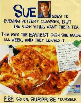 Sue's seafood ad.