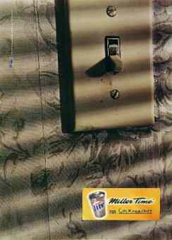 Click for a larger, floating, image. Miller 'counter culture' ad featuring electic switch sign.