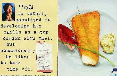 Tom's seafood ad.