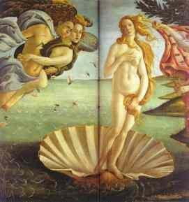 Botticelli's Birth of Venus for comparison with the Peugeot ad.