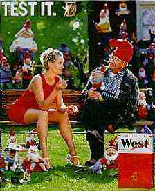 West ad with sexy young  woman and elderly man