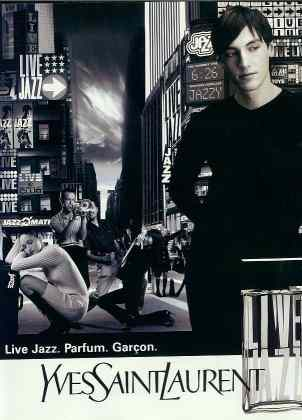 Click for a larger, floating, image. YSL Jazz ad with a model apparently sporting a gigantic erection.